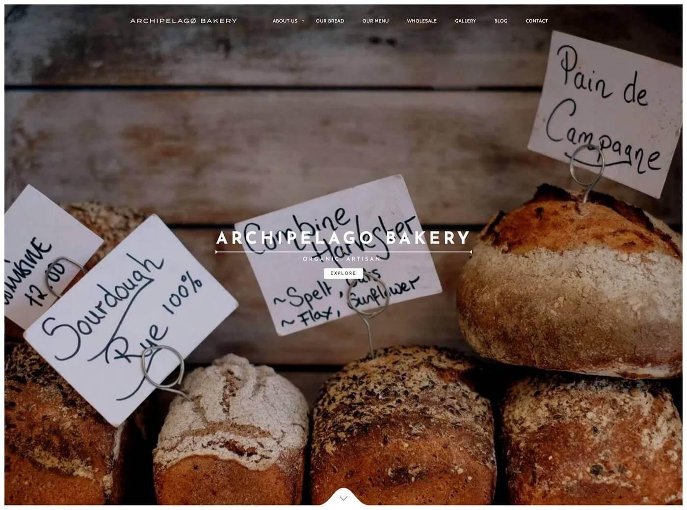 Web design for Archipelago Bakery, Edinburgh