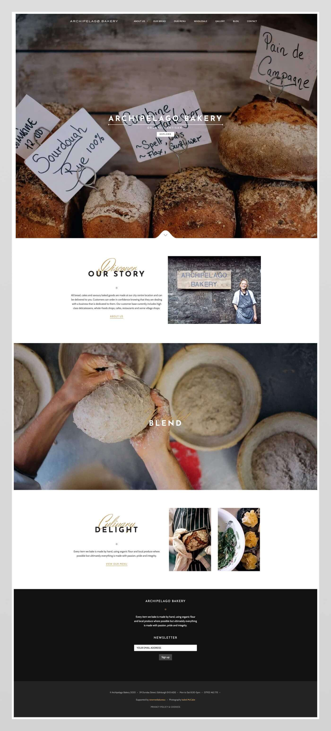 Website design for Archipelago Bakery | Edinburgh