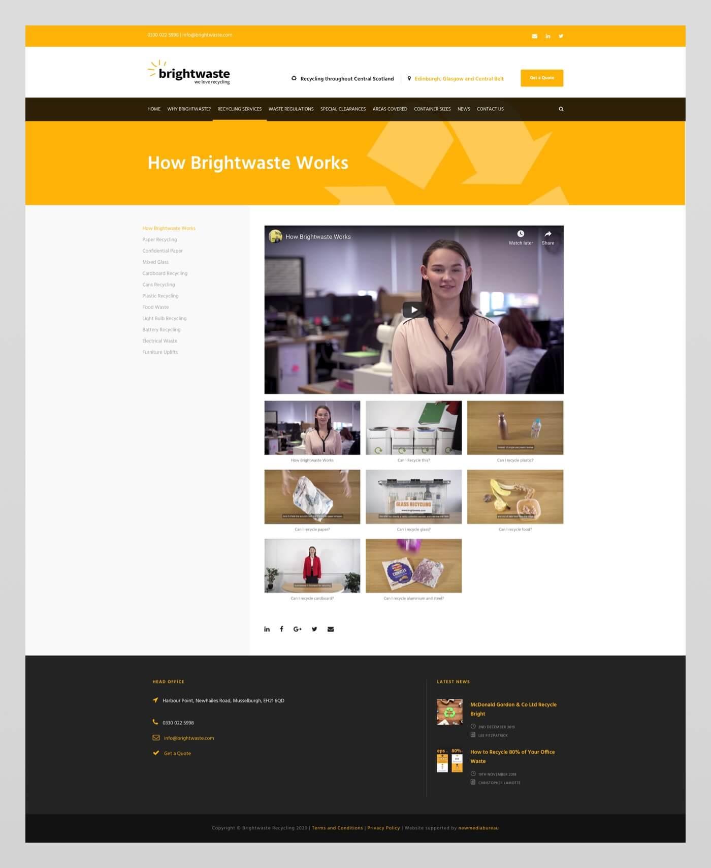Website design for Brightwaste   Edinburgh