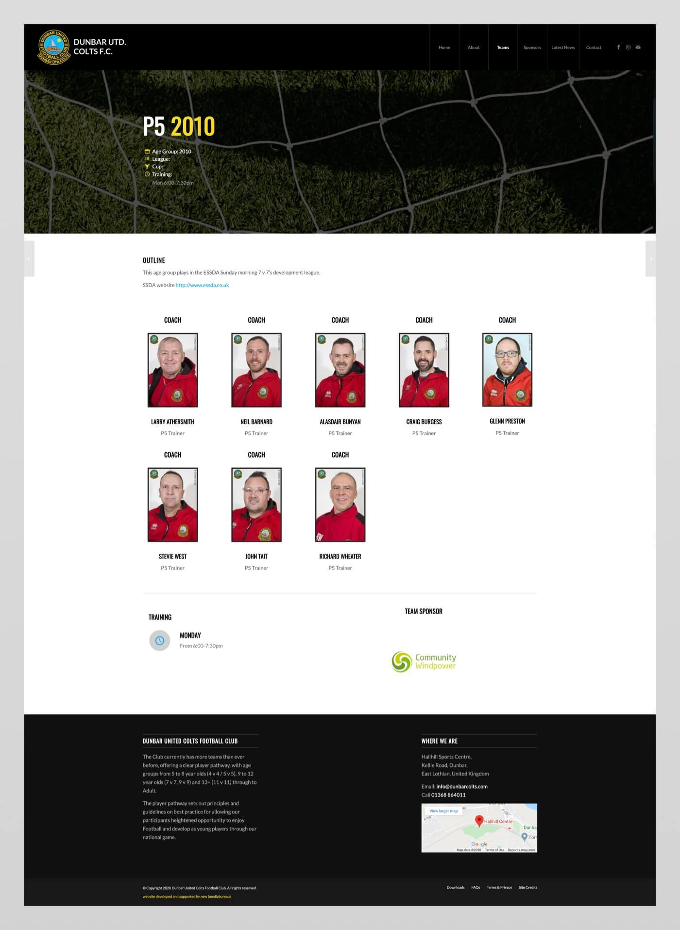 Website design for Dunbar United Colts F.C. | East Lothian