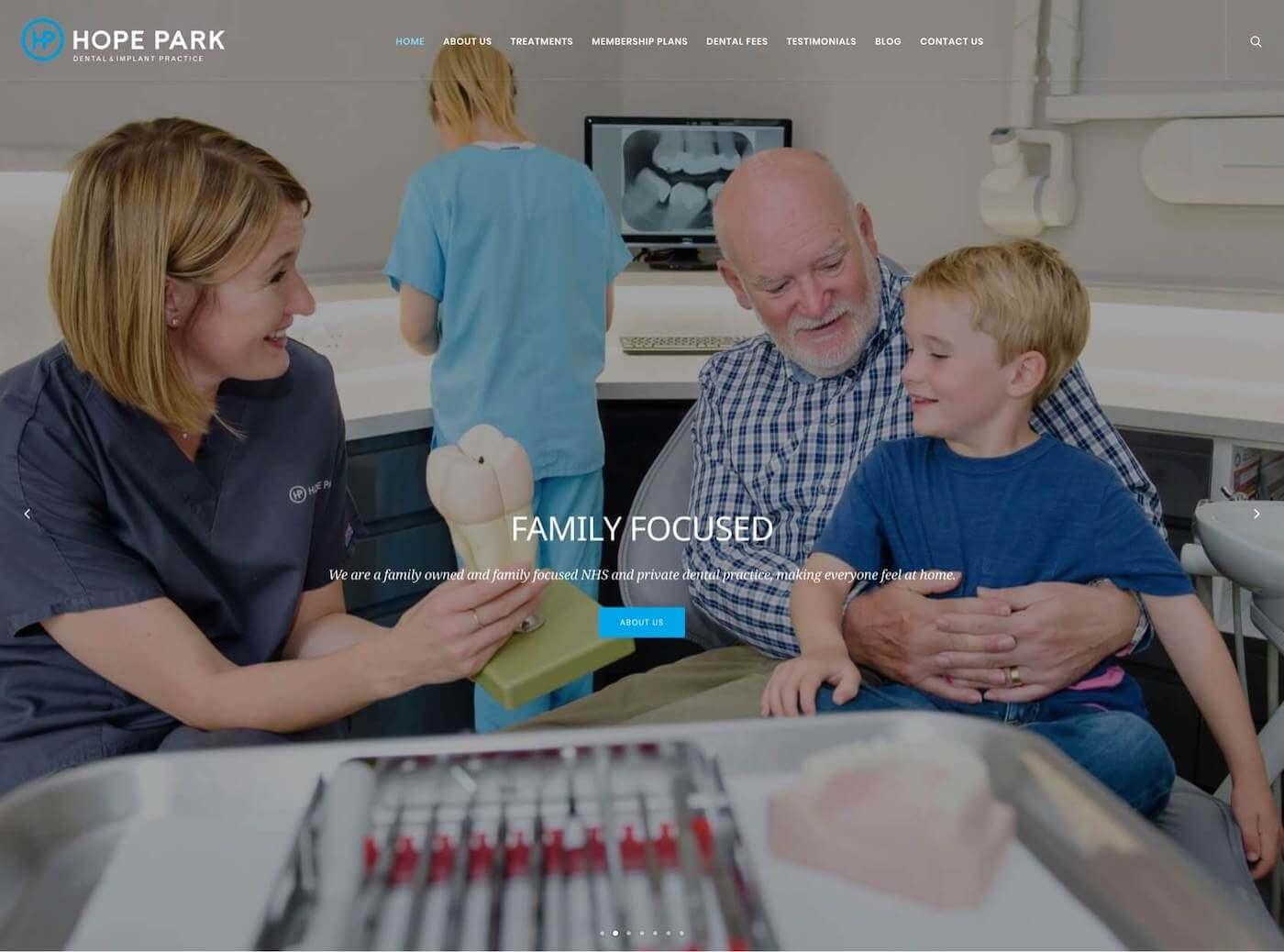 Web design for Hope Park Dental Practice, Edinburgh