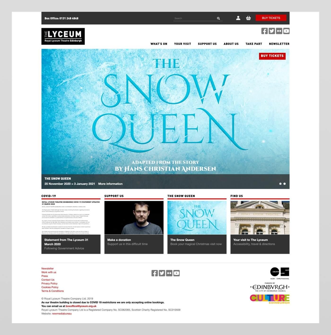 Website design for Lyceum Theatre, Edinburgh