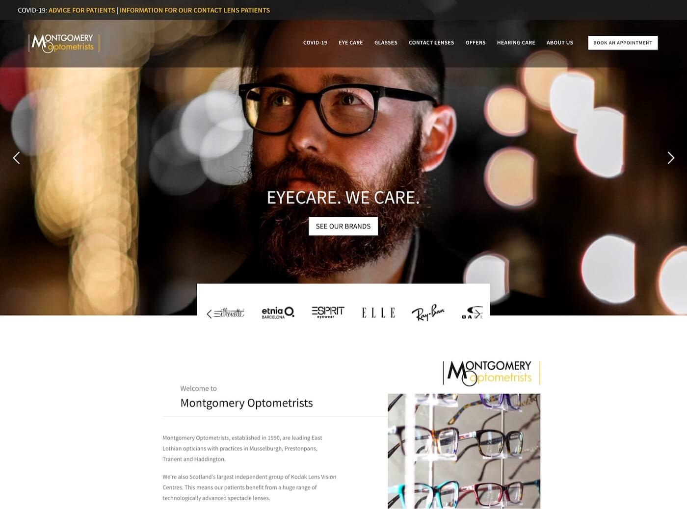 Web design for Montgomery Optometrists, Haddington, East Lothian