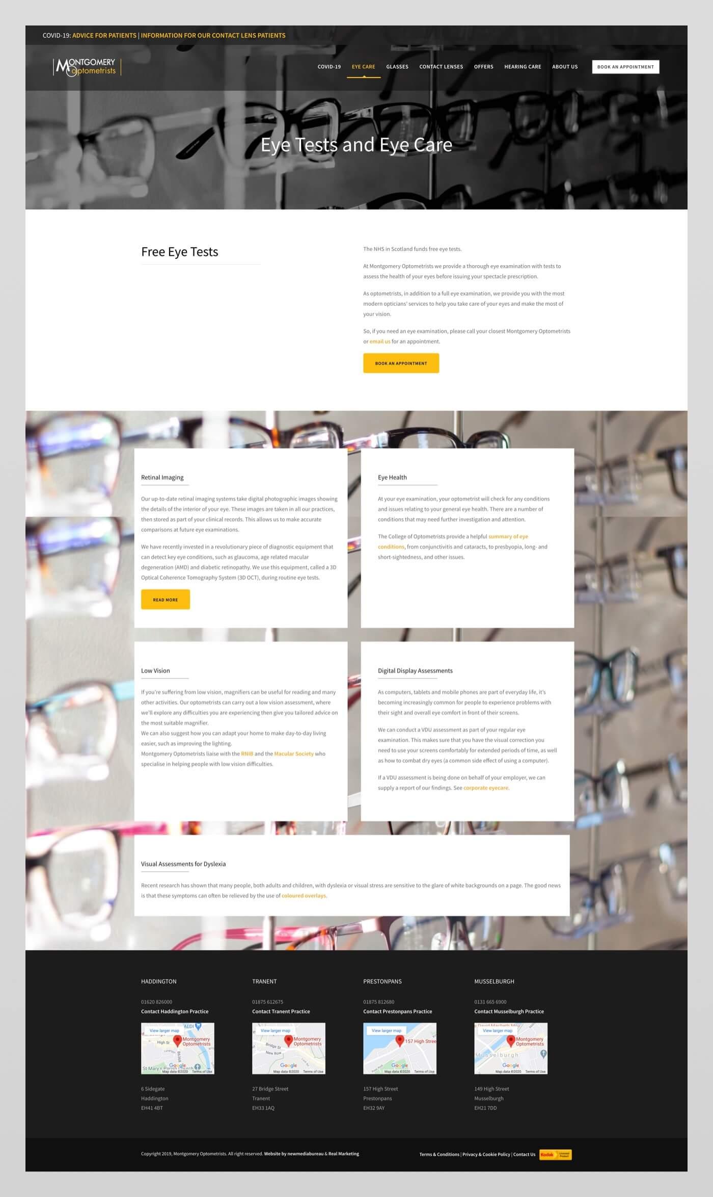 Website design for Montgomery Optometrists   Haddington