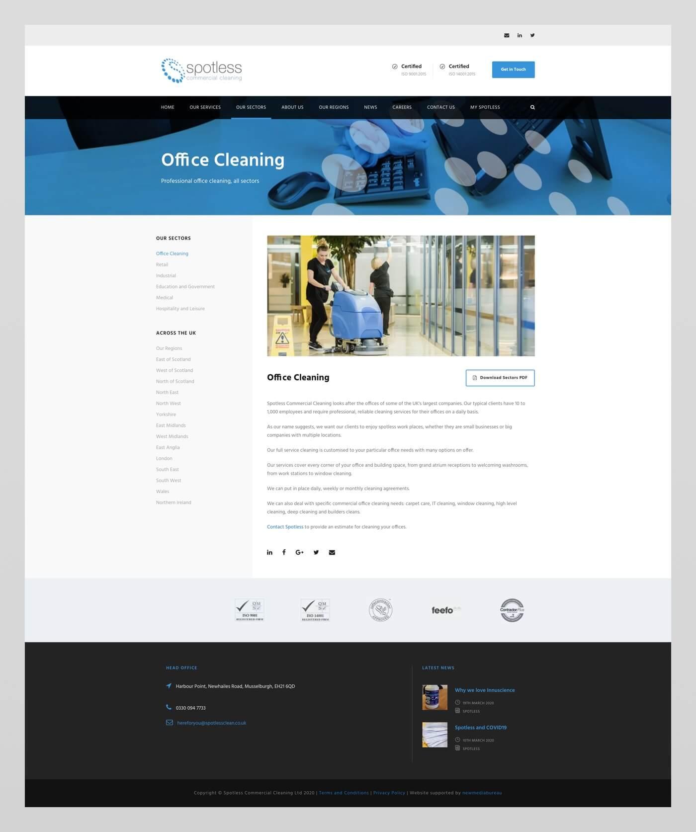 Website design for Spotless Cleaning Company | Edinburgh